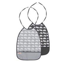 Gråa Haklappar med ficka i 2-pack Done by Deer Bib, 2-pack, grey tones