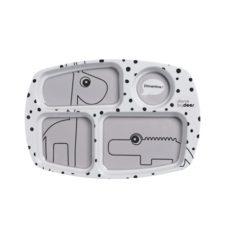 Tallrik med fack i grått med glada prickar Done by Deer Compartment plate, Happy dots, grey